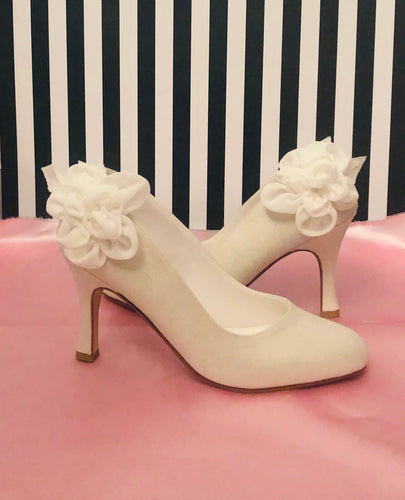 Shades Ivory Satin Bridal Heels with Floral Detail