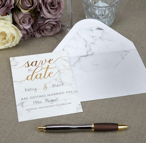 Scripted Marble Save The Date Cards with Envelopes Pack of 10