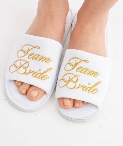 Team Bride White Spa Slippers with Gold Embroidery