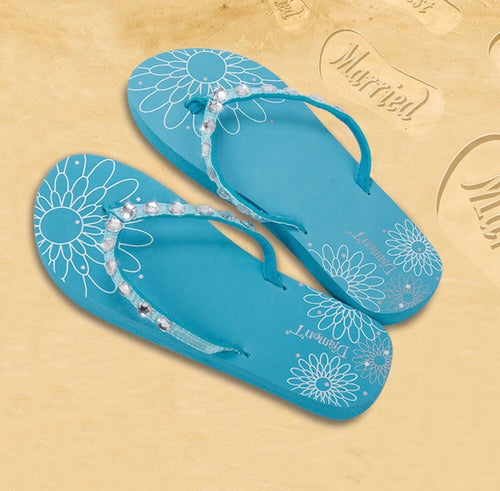 Diamon-T Blue Honeymoon Just Married Sand Imprint Flip Flops