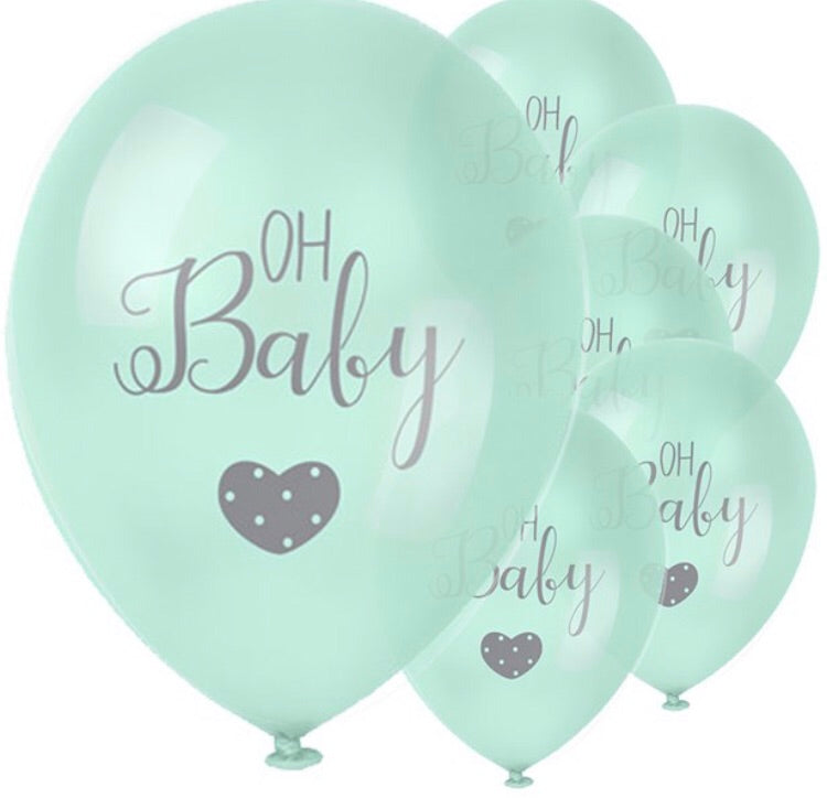 Baby Wishes Oh Baby Mint Balloons Pack of 6