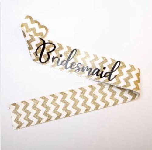 Nora & Katie Bridesmaid Gold Glitter Sash