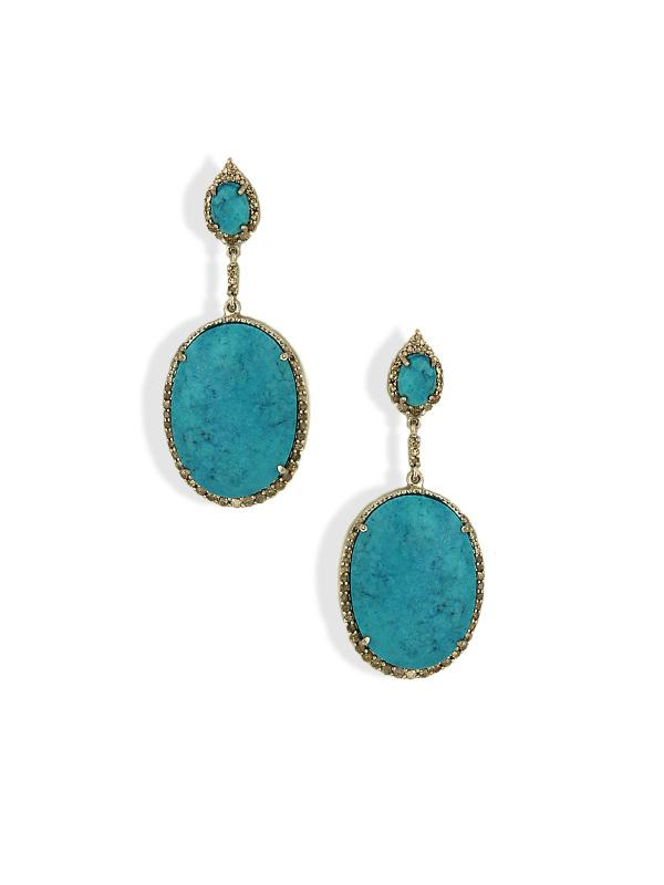 SALE Turquoise & Diamond Oval Earrings