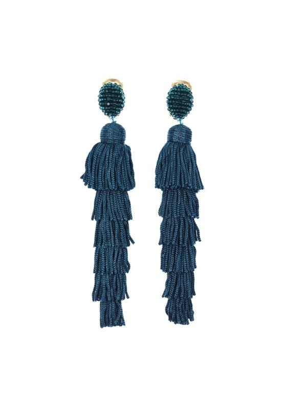 SALE Layered Tassel Clip on Earrings