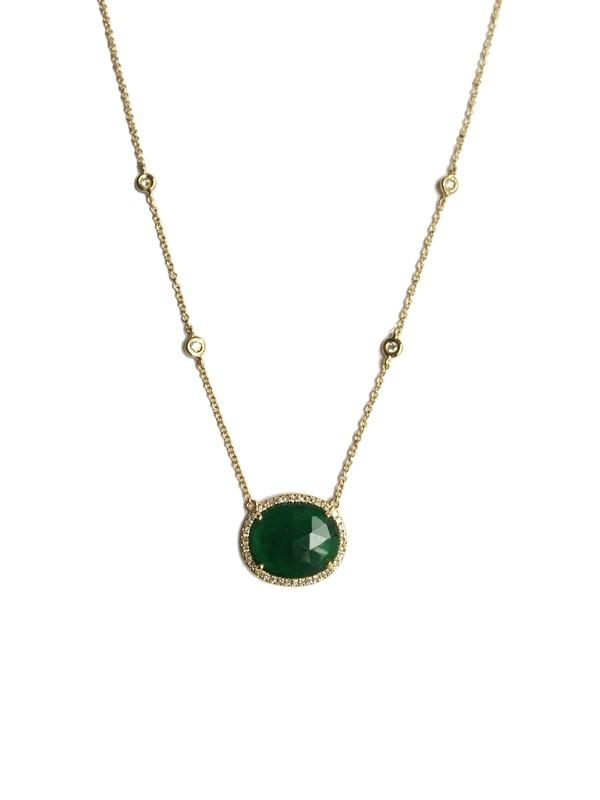 Diamond & Emerald Slice Pendant
