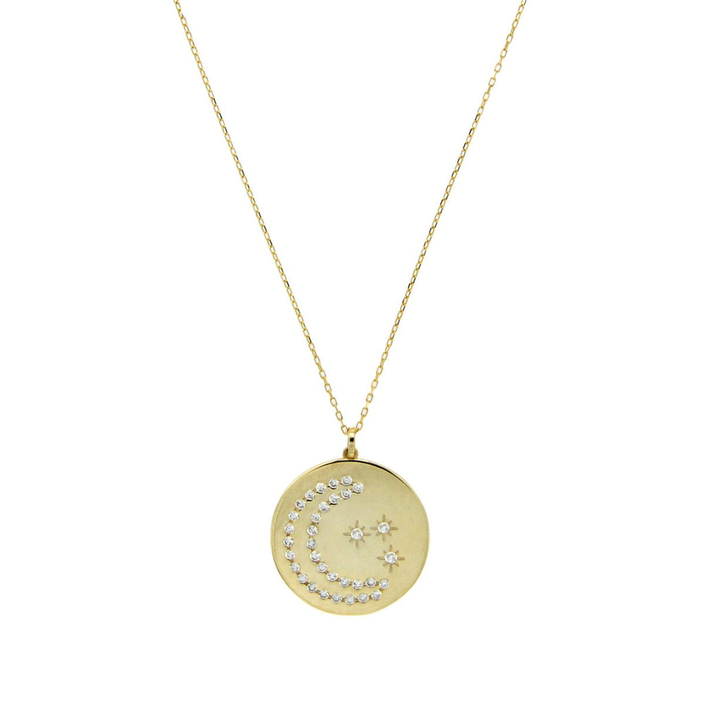 Moon & Star Disc Necklace