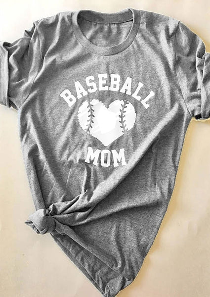 Baseball Mom Heart T-Shirt