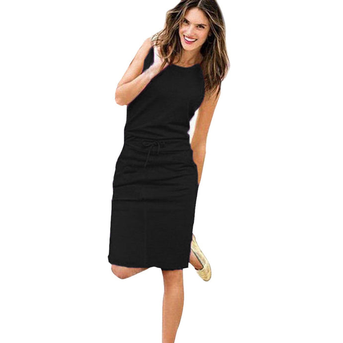 Ladies Sleeveless Summer Dress  with Pockets and Belt