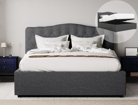 Adele Gas Lift Storage Bed Frame (Charcoal Fabric)