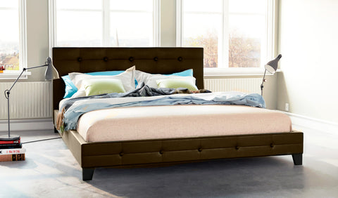 Stockholm PU Leather Bed Frame (Chocolate Brown)