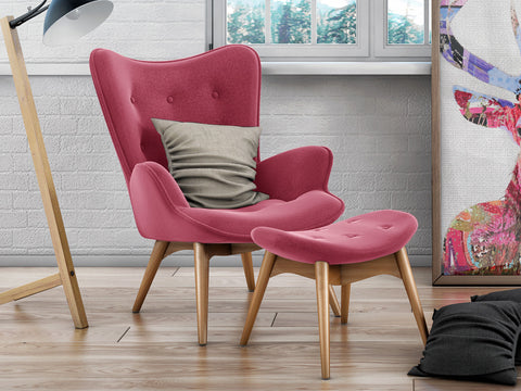 Grant Featherston Inspired Fabric Lounge Chair and Ottoman (Pink)