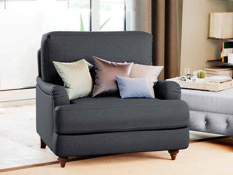 Lewis Single Seater Fabric Roll Armchair (Charcoal)
