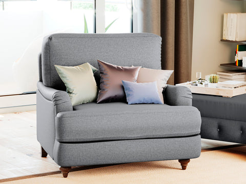 Lewis Single Seater Fabric Roll Armchair (Grey)