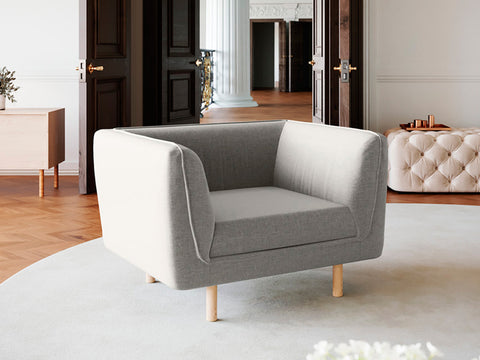 Hudson Single Seater Fabric Armchair (Stone Beige)