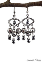 Load image into Gallery viewer, Chandelier Earrings Marquise Gun Metal Clip Ons No Piercing Twisted Round Beads