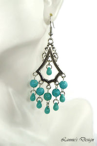 Chandelier Earrings Antiqued Silver Triangle Howlite Beads Clip Ons No Piercing