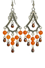 Load image into Gallery viewer, Chandelier Earrings Antiqued Silver Triangle Cascading Clip Ons No Piercing