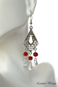 Chandelier Earrings Kite Shape Antiqued Silver Clip Ons No Piercing Twisted Round Beads