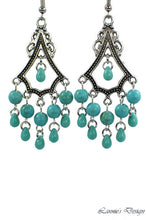 Load image into Gallery viewer, Chandelier Earrings Antiqued Silver Triangle Howlite Beads Clip Ons No Piercing