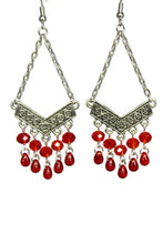 Load image into Gallery viewer, Chandelier Earrings Antiqued Silver Chevron Fringe Clip Ons No Piercing Beaded