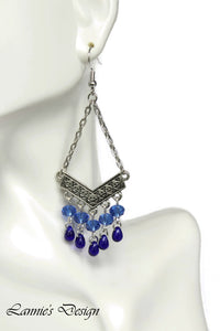 Chandelier Earrings Antiqued Silver Chevron Fringe Clip Ons No Piercing Beaded