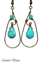 Load image into Gallery viewer, Antiqued Brass Turquoise Teardrop Wire Wrapped Earrings