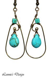 Antiqued Brass Turquoise Teardrop Wire Wrapped Earrings