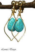 Load image into Gallery viewer, Turquoise Teardrop Marquise Dangling Earrings Wire Wrapped Boho Chic