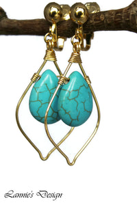 Turquoise Teardrop Marquise Dangling Earrings Wire Wrapped Boho Chic