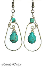 Load image into Gallery viewer, Silver Turquoise Teardrop Wire Wrapped Earrings