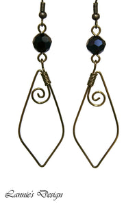 Antiqued Brass Black Marquise Swirl Dangling Earrings Wire Wrapped