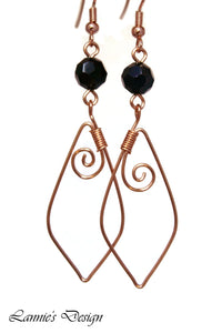 Copper Black Marquise Swirl Dangling Earrings Wire Wrapped