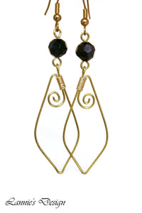 Gold Black Marquise Swirl Dangling Earrings Wire Wrapped
