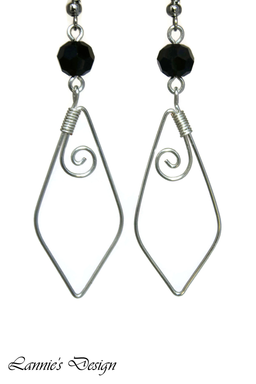 Silver Black Marquise Swirl Dangling Earrings Wire Wrapped