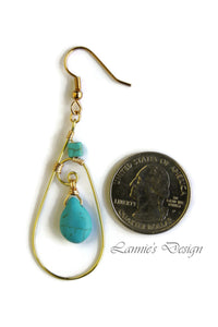 Gold Turquoise Teardrop Wire Wrapped Earrings