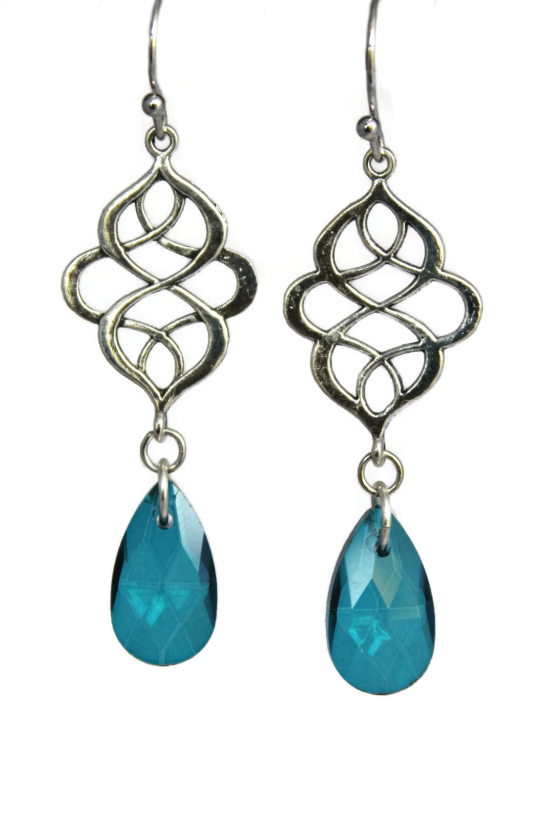 Celtic Knot Teardrop Dangle Earrings Antiqued Silver Marquise Boho Chic Jewelry