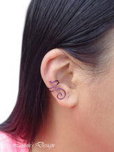 Load image into Gallery viewer, Violet Swirl Wire Ear Cuff No Piercing Conch Cartilage Earrings