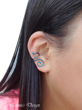 Load image into Gallery viewer, Blue Swirl Wire Ear Cuff No Piercing Conch Cartilage Earrings