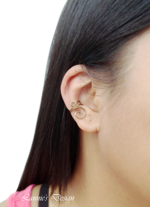 Antiqued Brass Spiral Wire Ear Cuff No Piercing Conch Cartilage Earrings