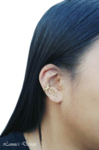 Gold Treble Clef Ear Cuff No Piercing Wire Conch Cartilage Earrings