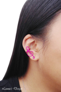 Hot Pink Treble Clef Ear Cuff No Piercing Wire Conch Cartilage Earrings