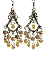 Load image into Gallery viewer, Chandelier Earrings Antiqued Silver Triangle Clip Ons No Piercing Spherical Beads