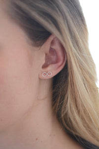 Infinity Stud Earrings Wire Infinite Love Tiny Sterling Silver