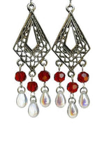 Load image into Gallery viewer, Chandelier Earrings Kite Shape Antiqued Silver Clip Ons No Piercing Twisted Round Beads