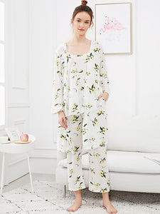 Floral Print Cami Pajama Set With Robe - hashtag
