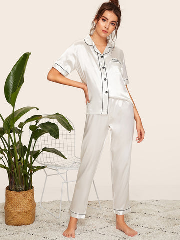 Embroidered Pajama Set - hashtag