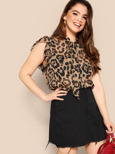 Plus Sheer Leopard Print Blouse