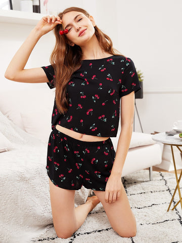 Cherry Top And Shorts Pajama Set - hashtag