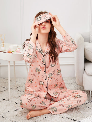 Cat Print Pajama Set With Eye Mask - hashtag