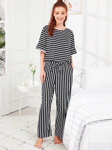 Ruffle Hem Striped Pajama Set